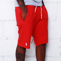 Mini Keys Cut Off Shorts Bright Red