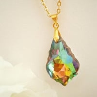 Vitrail Crystal Necklace - Iridescent Necklaces - Layering Necklace - Gift for her - Baroque Crystal - Unique Jewelry - Gold Plated Chain