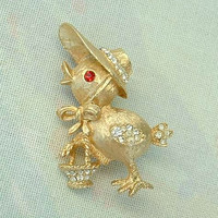 Chick Carrying Basket Pin Rhinestones Chicken Vintage Figural Jewelry
