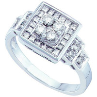 Diamond Fashion Ring in 14k White Gold 0.75 ctw
