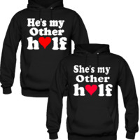 He/She's My Other Half Love Couple Hoodies