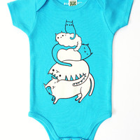Cat Onesuit - Baby Bodysuit (Aqua Blue) by boygirlparty