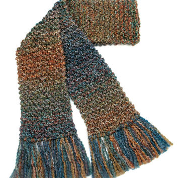 Multicolored Scarf Men Women Long Chunky Hand Knit Winter Scarf Blue Green Brown 6 ft Long