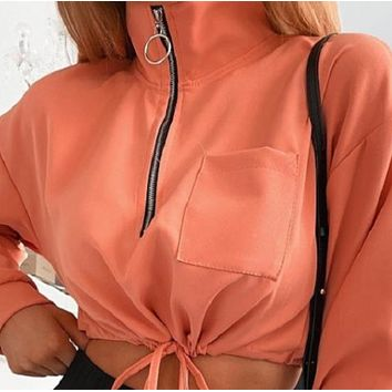Ladies Hot Sale Stand Collar Long Sleeve Drawstring Short Jacket