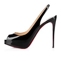 Christian Louboutin Cl Private Number Black Patent Leather 120mm Stiletto Heel Ss15 -