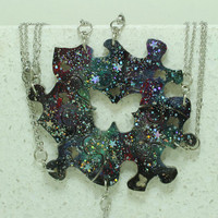 Friendship Puzzle Piece necklaces Set of 7 pendants Galaxy pattern Ready to ship