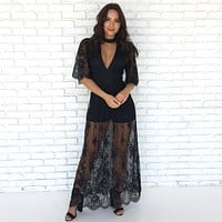 Mademoiselle Lace Maxi Dress in Black