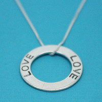 Love necklace 925 Sterling silver washer pendant, anniversary gift for wife, Christmas gift for daughter, friend, family