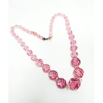 Antique Art Deco Czech pink lead crystal graduated faceted glass bead necklace