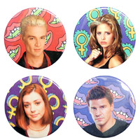 Babes of Buffy Button Set