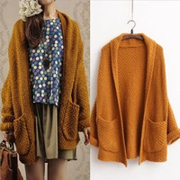 Casual Loose  Cardigans Batwing Sleeve Thick Knitting Sweater