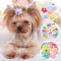 2017 Fashion 2pcs pet hairpin Bow Candy Pet Dog Cat Puppy Hairpin Hair Clip Dog Wedding accessories
