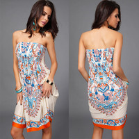 women's sexy dresses off the shoulder strapless one-piece 2015 new arrival summer & spring bohemian style dress free shipping