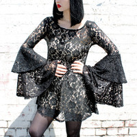 ADELE PSYCH 'Diminished Fifth' Glam Goth Rock Sheer Black Lace Mini Dress with Triple Layered Bell Sleeves