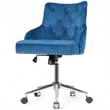 Tufted Upholstered Swivel Computer Desk Chair with Nailed Tri-Blue
