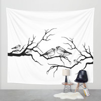 Family birds Wall Tapestry by Haroulita