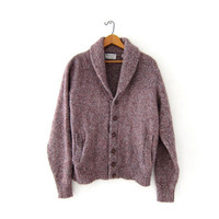 vintage cardigan sweater. speckled wool cardigan. button up pocket sweater. grandpa sweater