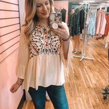 Cream Embroidered Tunic Top