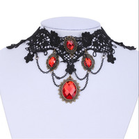 1Pc Ornate Handmade Retro Short Black Lace Flower Collar Red Crystal Chain Pendant Choker Necklace Prom Jewelry  HOT