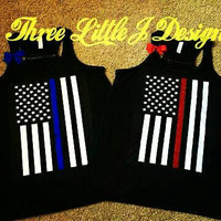 Blue Line Tank | Red Line Tank | Fitness Workout Tank | Law Enforcement |  Glitter Tank | Police Wife Tank | Fireman Wife Tank | USA Flag