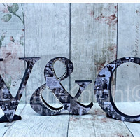 Photo initials, Freestanding Letters, wedding Gift, Housewarming Gift, Photo display, Name Art, Engagement present, his and her, &, wooden