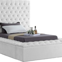 Bliss White Velvet Twin Bed (3 Boxes)