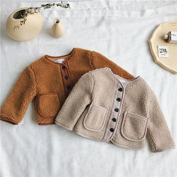 Autumn Winter Korean Version pure color woolen warm fashion thickened coat for cute sweet baby girls and boys