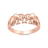 Sterling Silver Rose Gold Plated Double Elephant Ring