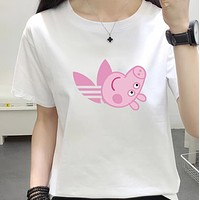 """Adidas"" Popular Gucci Peppa Pig Unisex Casual Summer Spoof Print Short Sleeve Round Collar Couple Cotton T-Shirt Pullover Top I-JZP-36"