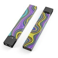 Bright Purple Teal and Mustard Yellow Color Waves - Premium Decal Protective Skin-Wrap Sticker compatible with the Juul Labs vaping device