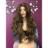 Balayage curls wavy lace front wig| layered | Soft blended human hair| #11857 Good Heart
