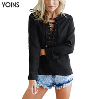 YOINS Brand New 2016 Blusa Femininas Women Fashion Lace Up Blouse Tops Casual Long Sleeve V-neck Shirt