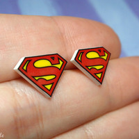 Superman earrings studs by Plushable on Etsy