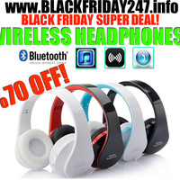 Wireless Bluetooth Headphones Earphone Earbuds Stereo Foldable Handsfree Headset with Mic Microphone