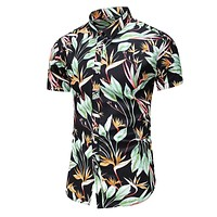 2020 New Men's Slim fit Floral Printed Shirts Male Casual Short Sleeve Hawaiian Beach Flower Shirt Basic Tops Plus Size M-7XL
