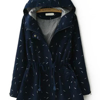 Navy Hooded Leaves Print Drawstring Long Sleeve Coat