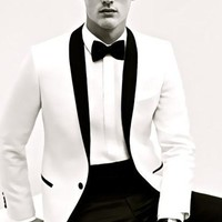 New Bespoke Mens Suits Classic Terno Slim Gray Mens Suits Wedding Groom Tuxedos 2 Pieces Jacket+Pant