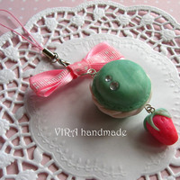 Kawaii cute handmade polymer clay french macaroon mint strawberry bow cell phone strap charm
