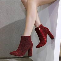 Shinning Pointed Toe Side Zipper Middel Chunky Heel Ankle Boots