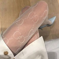 GUCCI Double G Letter Mesh Hollow Lace White Stockings
