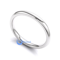 Heavy Weight 1.7-2.8gr Solid 2mm 14K WHITE Gold Wedding Band Comfort Fit Sz 4-13