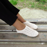 Knit Slippers, Ivory Cream Turkish Knitted Socks Slippers, Woman Slippers, Knitted Home Shoes, Gift For Woman House Shoes