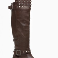 Breckelles Light Brown Fall Stud Knee High Rider Boot - Shoes