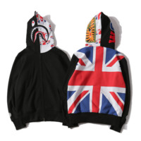 Bape Aape New fashion shark tiger print back rice flag flag print hooded long sleeve top coat Black