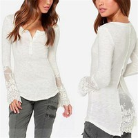 2017 Sexy Fashion V Neck Women Blouses Lace Mesh Shirt Slim Blouse Tops Long Sleeve Women Casual Shirts Tunic blusa Plus Size
