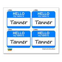 Tanner Hello My Name Is - Sheet of 4 Stickers