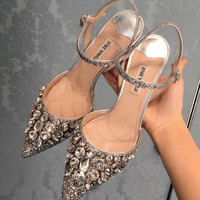 The crystal sequins pointed-toe Wedding shoes pointed high-heels sandals GOLDEN
