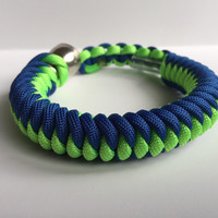 Blue and Neon Green 550 Paracord Stealthy Secret Pipe Bracelet w/ FREE SHIPPING