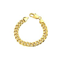 """Class Curb Bracelet in 7.5"""" in 14K Gold Plated"""
