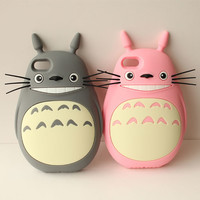3D cute Totoro case for iphone 4 5 5s 6 4.7 inch 6 plus 5.5 inch TPU cell phone case silicone